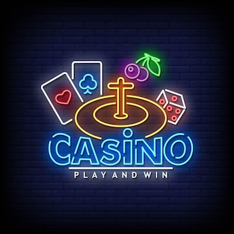 Casino neon signs style text vektor