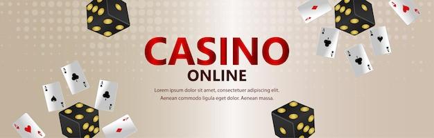 Casino-online-glücksspiel-banner mit spielkarte und roulette-rad