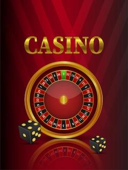 Casino-online-glücksspiel mit roulette-rad und spielkarten