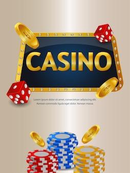 Casino-online-spiel mit kreativen casino-chips und goldmünzen