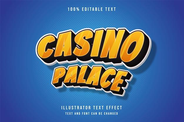 Casino-palast, bearbeitbarer texteffekt 3d. comic-text-stil