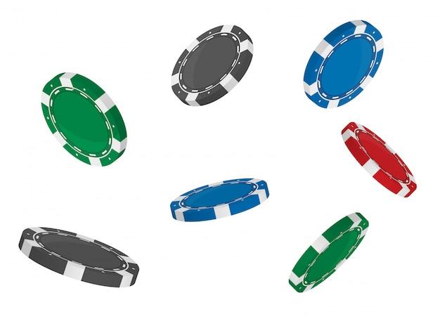 Casino poker chips drehen die position aus verschiedenen winkeln.