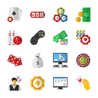 Casino-, poker- und glücksspiel-symbole