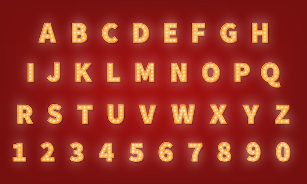 Casino retro gold typografie schriftart. glühbirnenalphabet