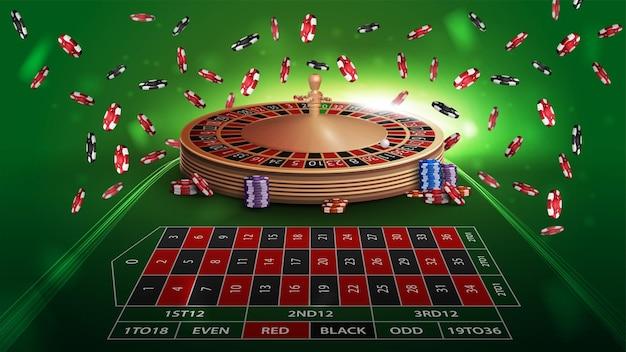 Casino-roulette-grüner tisch in perspektive mit pokerchips. großer gewinn beim roulette