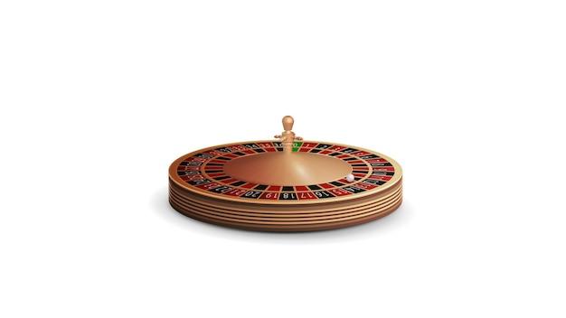 Casino roulette-rad im volumetrischen stil isoliert auf weißem hintergrund für ihre künste