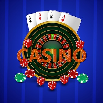 Casino roulette rad mit spielkarten, chips und würfeln auf kreativem hintergrund