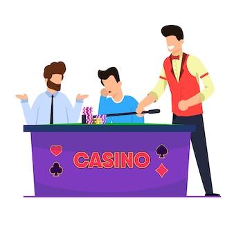 Casino roulette spiel illustration. männer spielen und verlieren roulette.