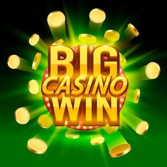 Casino-schild mit großem gewinn, spielbanner-design. vektor-illustration