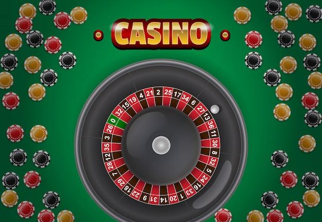 Casino schriftzug, chips und roulette auf grünem hintergrund.