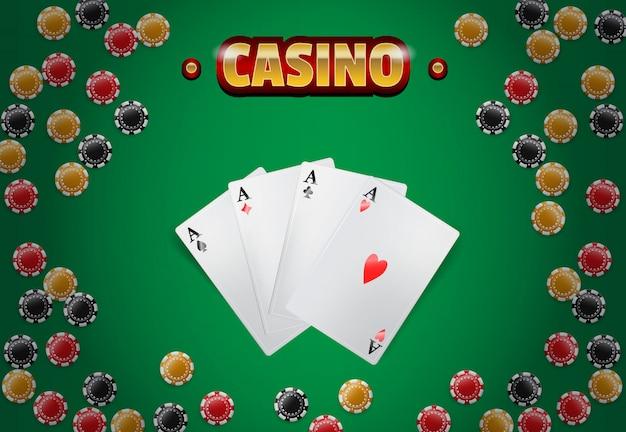 Casino-schriftzug, chips und vier asse. casino-business-werbung