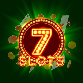 Casino slots jackpot 7 schildabdeckung. vektor-illustration