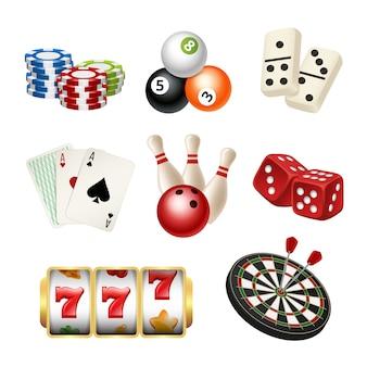 Casino-spiel-symbole. spielkarten, die domino-pfeile bowlen, würfeln realistische s von spielwerkzeugen