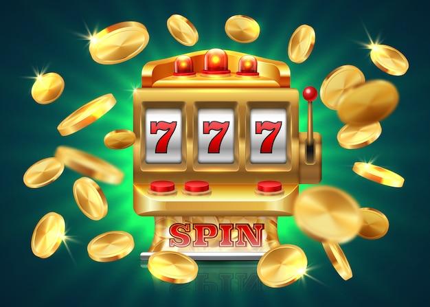 Casino spielautomat. 777 jackpot, gewinnspiel lotterie, fliegende goldmünzen. goldene maschine