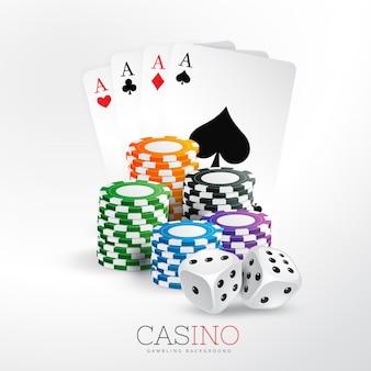 Casino spielkarten und chips mit würfel vektor hintergrund