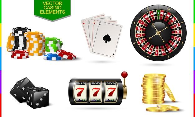 Casino-symbol auf weißem hintergrund. chip, pokerkarte, roulette, spielautomat, münzgeld und schwarzes würfelset.
