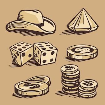Casino symbole und stetson. set vintage handgemachte illustration.
