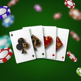 Casino-thema mit pokersymbolen und pokerkarten auf grünem hintergrund.
