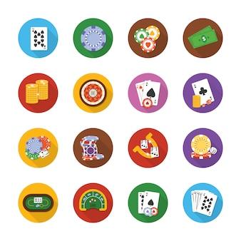 Casino und glücksspiel icons