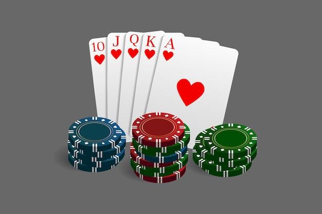 Casino- und pokerchips kombiniert mit einer royal flush-hand. vektorillustration in einem realistischen stil.