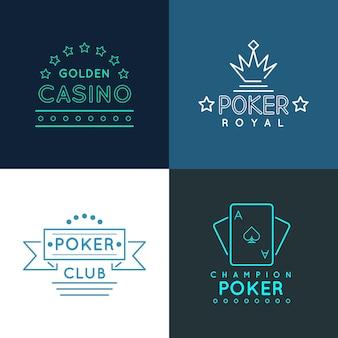 Casino- und pokerclub-labels und embleme, logos im linearen umrissstil. glücksspielspieldesign, königliches glücksspielbanner, vektorillustration