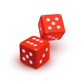 Casino-vektorsymbol mit zwei roten würfeln isoliert auf weißem hintergrund