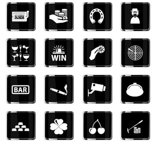 Casino-vektorsymbole für das design der benutzeroberfläche