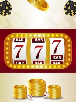 Casino vip-luxus-glücksspiel mit spielautomat und goldmünze
