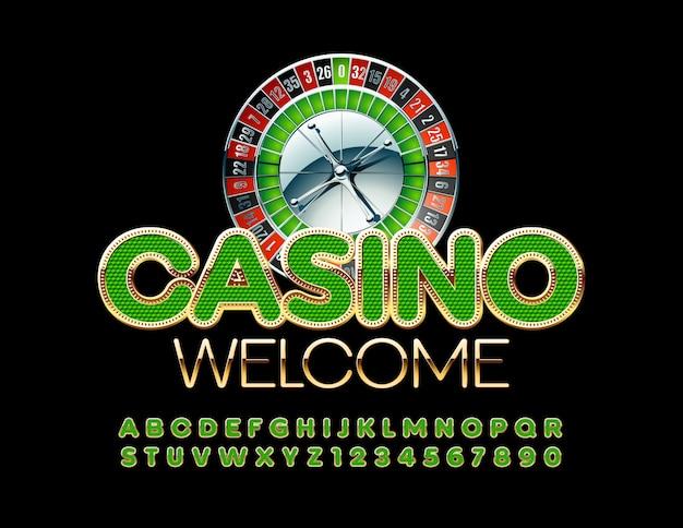 Casino willkommen mit goldenen und grünen buchstaben und zahlen