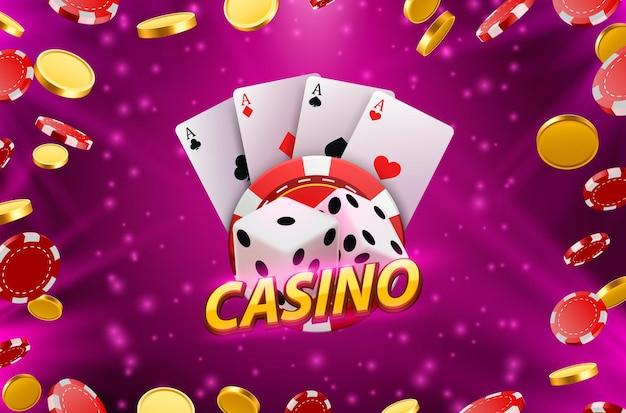 Casino-würfel-banner-schild im hintergrund. vektor-illustration