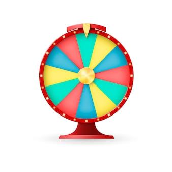 Casinoausrüstung, glücksrad. jackpot fehlender gewinner. illustration auf weißem hintergrund
