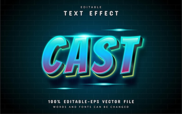 Cast-texteffekt mit blau-lila farbverlauf