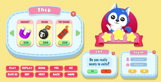 Casual cartoon kids game benutzeroberfläche shop, login und exit-menü pop-up mit sternen, knöpfen und katze