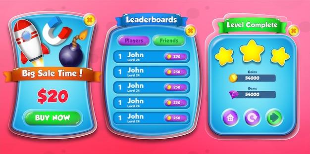 Casual cartoon kids game shop verkaufszeit, bestenlisten und level-komplettmenü popup