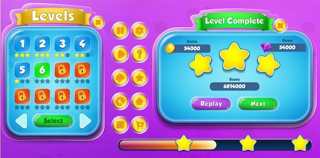 Casual cartoon kids game ui level auswahl und level complete menü pop-up mit schaltflächen und ladeleiste