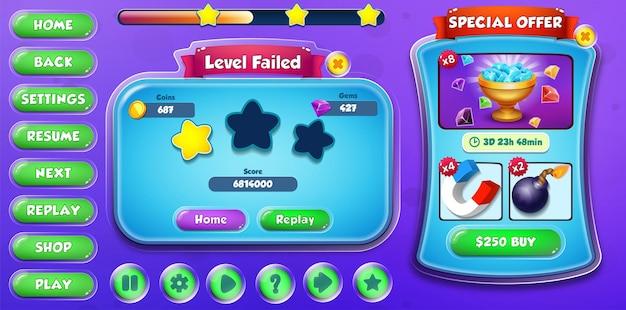 Casual cartoon kids game ui level fehlgeschlagen und sonderangebot menü pop-up mit schaltflächen und ladeleiste