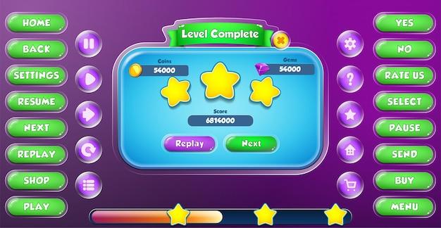 Casual cartoon kids game ui level komplettes menü pop-up mit schaltflächen und ladeleiste