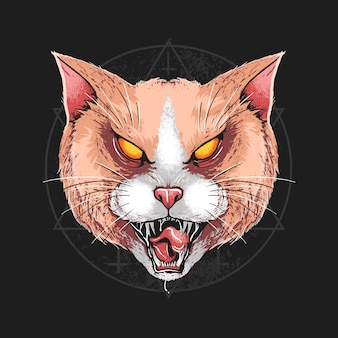 Cat angry head detail artwork