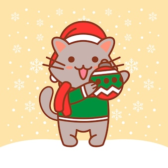 Cat christmas ball illustration