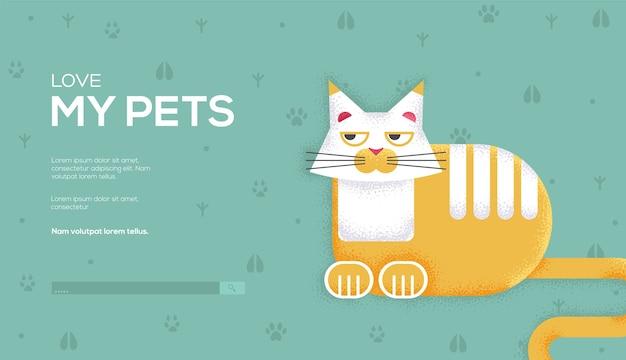 Cat concept flyer, web-banner, ui-header, website eingeben. .