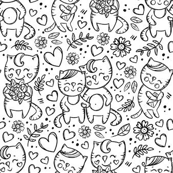 Cat couple händchen haltend. von hand gezeichnetes monochromes nahtloses muster der karikatur