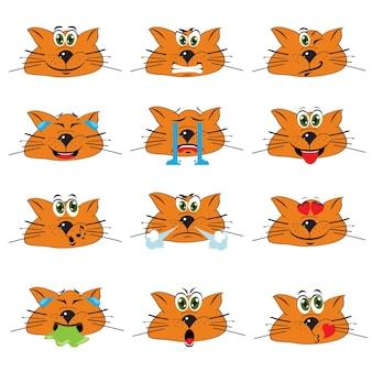 Cat emojis set auf weißen hintergrund isoliert