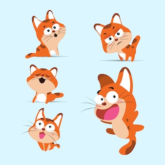Cat icons collection farbiger karikatur-schablonen-vektor