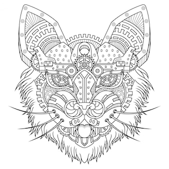 Cat steampunk illustration linear style