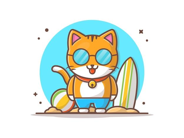 Cat summer play in der strand-vektor-ikonen-illustration