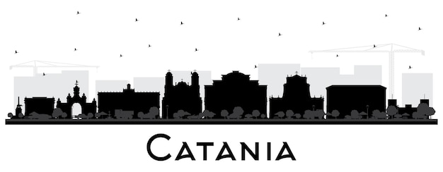 Catania italien skyline der stadt silhouette mit schwarzen gebäuden isoliert auf weiß
