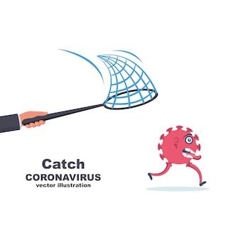 Catch coronavirus-konzept. coronavirus ausführen