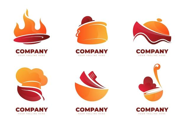 Catering-logo-kollektion mit farbverlauf Kostenlosen Vektoren