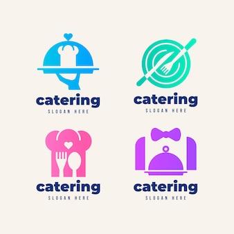 Catering-logo-set mit farbverlauf