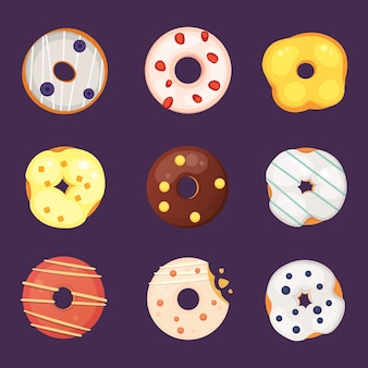 Catoon donut mit glasurillustration isoliert